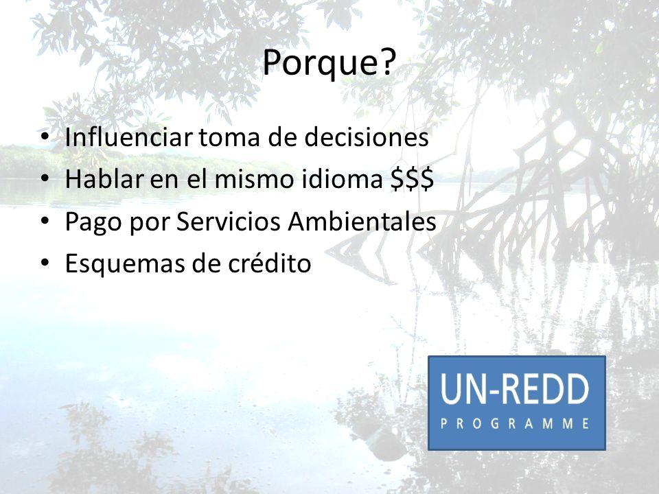 Porque? Influenciar toma de decisiones Hablar en el mismo idioma $$$ Pago por Servicios Ambientales Esquemas de crédito