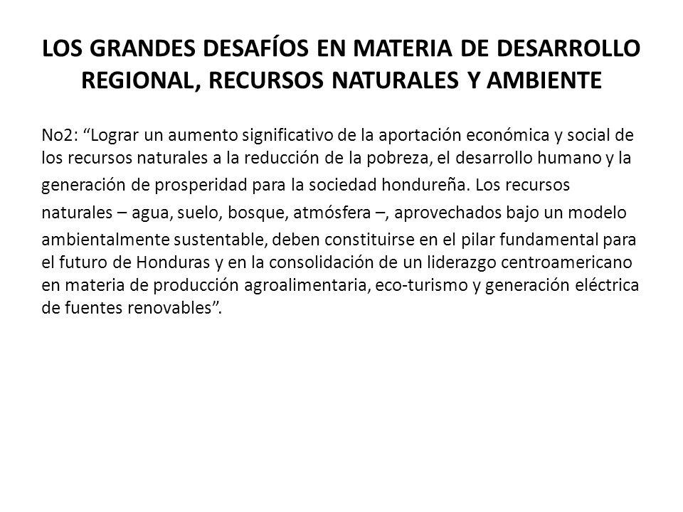 LOS GRANDES DESAFÍOS EN MATERIA DE DESARROLLO REGIONAL, RECURSOS NATURALES Y AMBIENTE No2: Lograr un aumento significativo de la aportación económica