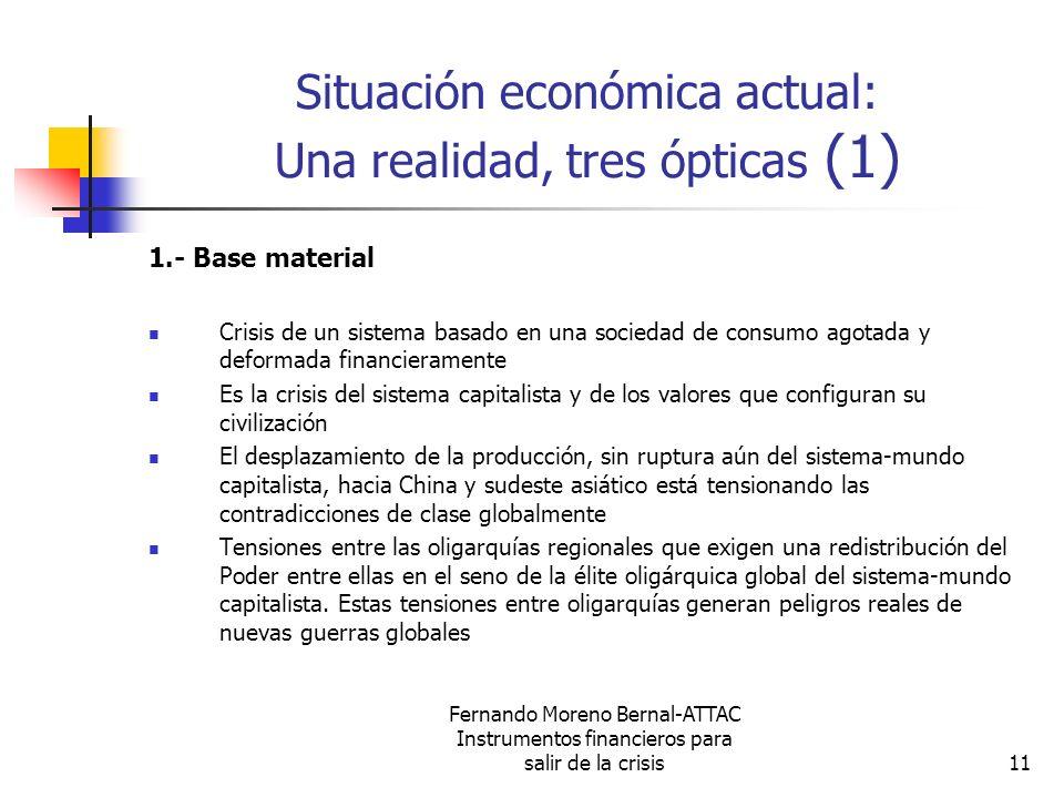 Fernando Moreno Bernal-ATTAC Instrumentos financieros para salir de la crisis11 Situación económica actual: Una realidad, tres ópticas (1) 1.- Base ma