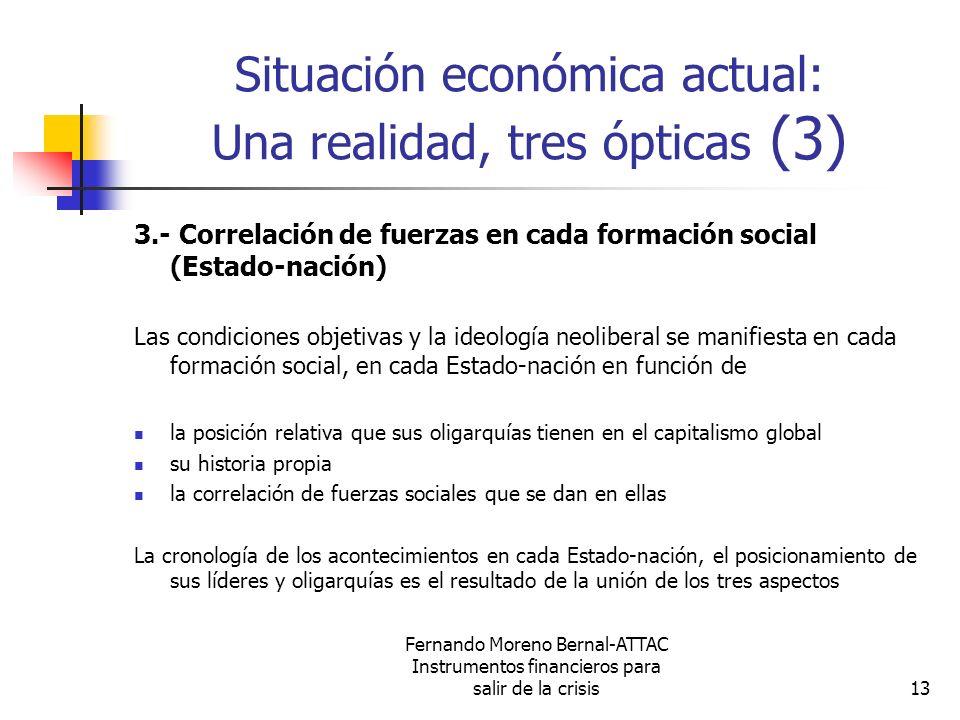 Fernando Moreno Bernal-ATTAC Instrumentos financieros para salir de la crisis13 Situación económica actual: Una realidad, tres ópticas (3) 3.- Correla