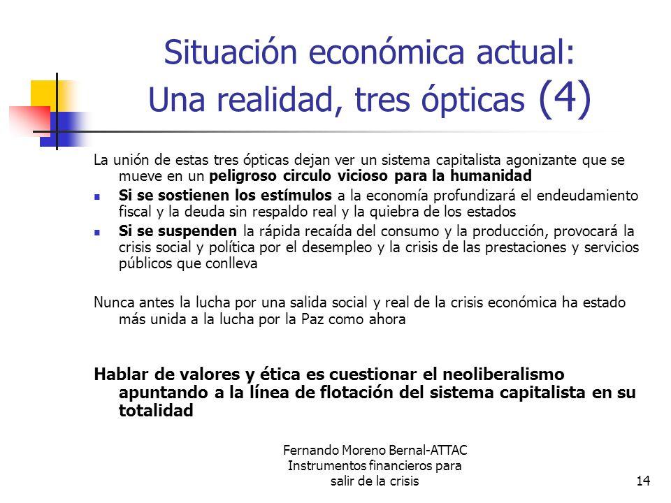Fernando Moreno Bernal-ATTAC Instrumentos financieros para salir de la crisis14 Situación económica actual: Una realidad, tres ópticas (4) La unión de