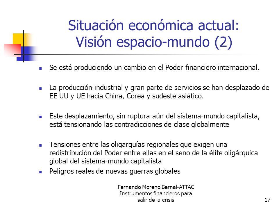 Fernando Moreno Bernal-ATTAC Instrumentos financieros para salir de la crisis17 Situación económica actual: Visión espacio-mundo (2) Se está producien