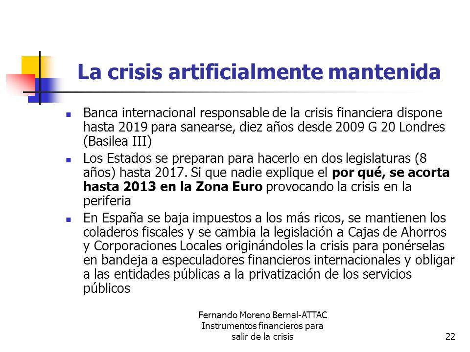 Fernando Moreno Bernal-ATTAC Instrumentos financieros para salir de la crisis22 La crisis artificialmente mantenida Banca internacional responsable de