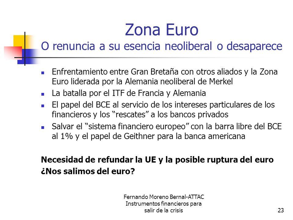 Fernando Moreno Bernal-ATTAC Instrumentos financieros para salir de la crisis23 Zona Euro O renuncia a su esencia neoliberal o desaparece Enfrentamien