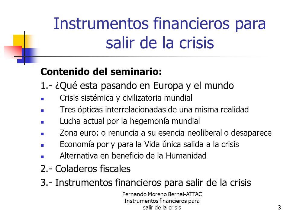 Fernando Moreno Bernal-ATTAC Instrumentos financieros para salir de la crisis44 Instrumentos financieros para salir de la crisis (5) El Sistema Financiero Alternativo debe garantizar y ser coherente con los objetivos, motivaciones y valores de la nueva sociedad.
