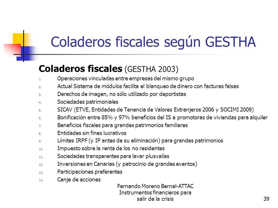 Fernando Moreno Bernal-ATTAC Instrumentos financieros para salir de la crisis39 Coladeros fiscales según GESTHA Coladeros fiscales (GESTHA 2003) 1. Op