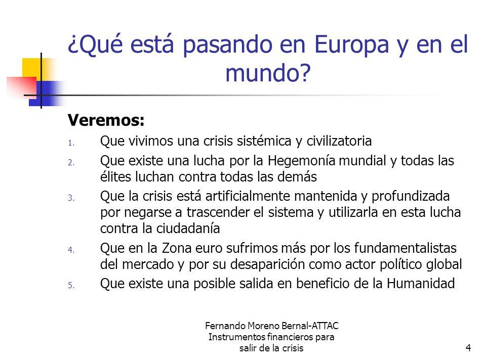 Fernando Moreno Bernal-ATTAC Instrumentos financieros para salir de la crisis4 ¿Qué está pasando en Europa y en el mundo? Veremos: 1. Que vivimos una