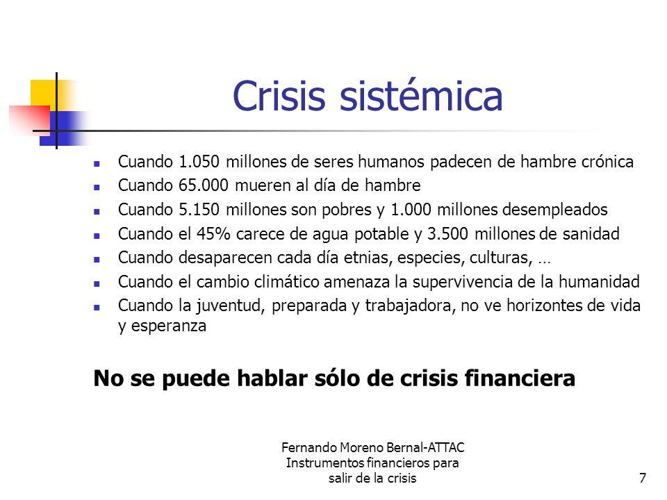 Fernando Moreno Bernal-ATTAC Instrumentos financieros para salir de la crisis7 Crisis sistémica Cuando 1.050 millones de seres humanos padecen de hamb
