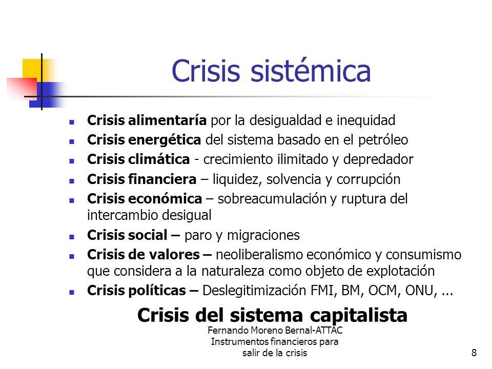 Fernando Moreno Bernal-ATTAC Instrumentos financieros para salir de la crisis9 Crisis civilizatoria Bienes duraderos en lugar de bienes perecederos: Cambio del paradigma del consumismo Reducción del consumo energético: Cambio paradigma energético Eliminación especulación financiera: Cambio paradigma financiero