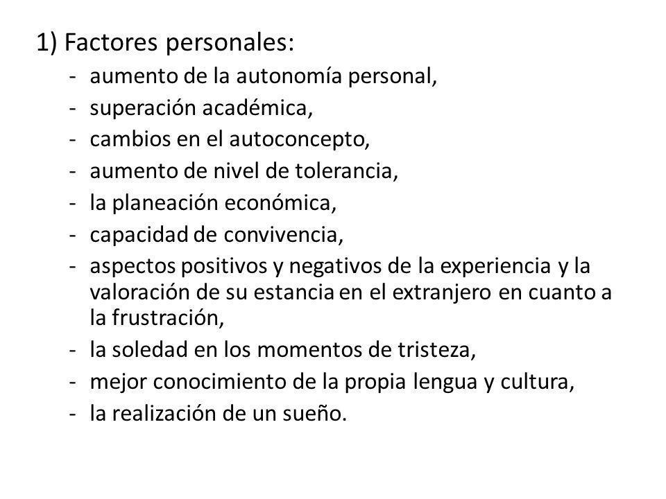 1) Factores personales: -aumento de la autonomía personal, -superación académica, -cambios en el autoconcepto, -aumento de nivel de tolerancia, -la pl