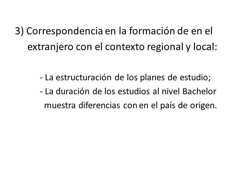 3) Correspondencia en la formación de en el extranjero con el contexto regional y local: - La estructuración de los planes de estudio; - La duración d