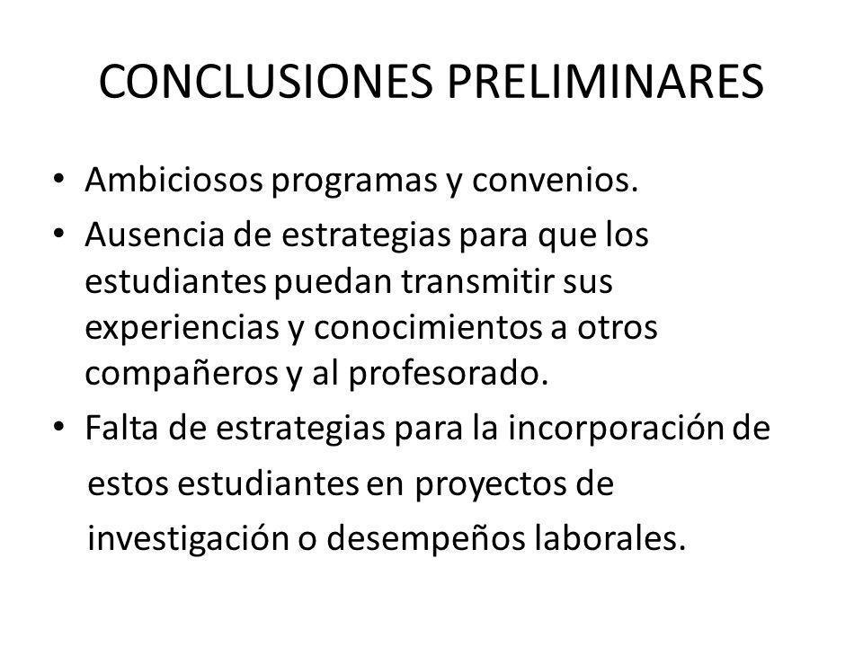 CONCLUSIONES PRELIMINARES Ambiciosos programas y convenios. Ausencia de estrategias para que los estudiantes puedan transmitir sus experiencias y cono