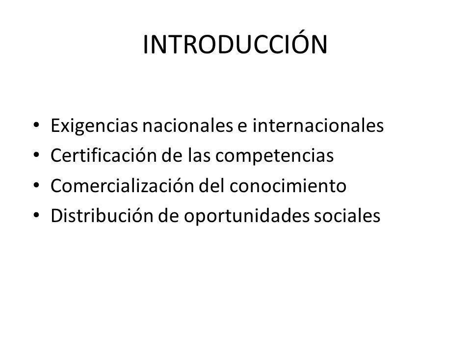 INTRODUCCIÓN Exigencias nacionales e internacionales Certificación de las competencias Comercialización del conocimiento Distribución de oportunidades