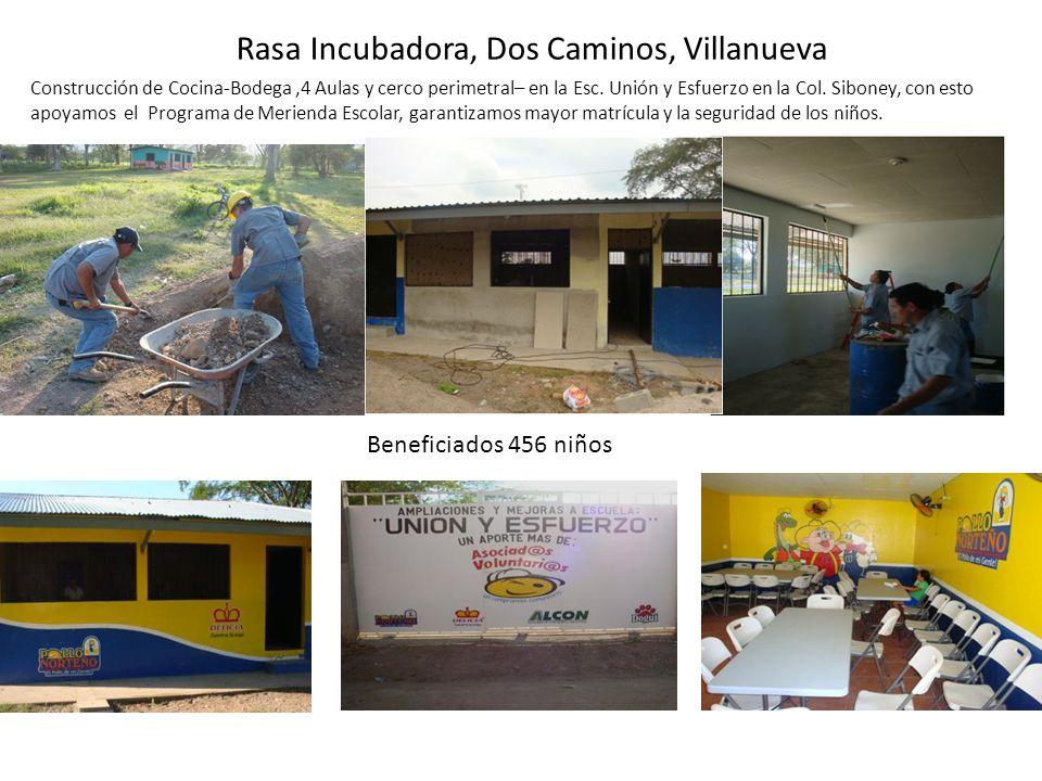 Rasa Incubadora, Dos Caminos, Villanueva Construcción de Cocina-Bodega,4 Aulas y cerco perimetral– en la Esc. Unión y Esfuerzo en la Col. Siboney, con