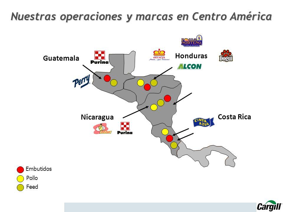 Honduras Nicaragua Costa Rica Guatemala Embutidos Pollo Feed Nuestras operaciones y marcas en Centro América