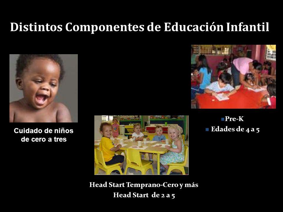 Cuidado de niños de cero a tres Head Start Temprano-Cero y más Head Start de 2 a 5 Pre-K Edades de 4 a 5 Distintos Componentes de Educación Infantil