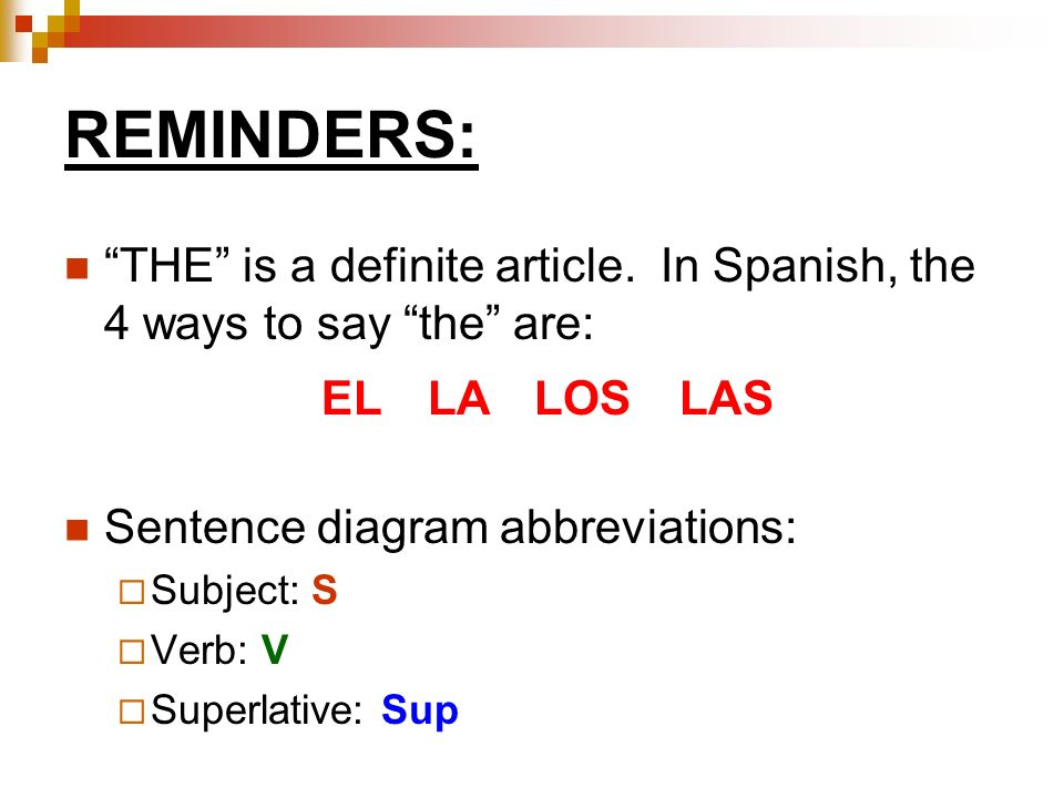 REMINDERS: THE is a definite article.