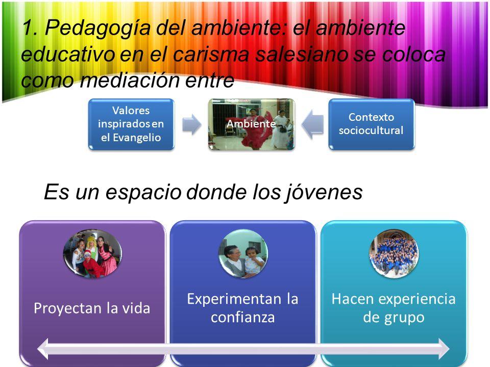 Proyectan la vida Experimentan la confianza Hacen experiencia de grupo 1. Pedagogía del ambiente: el ambiente educativo en el carisma salesiano se col