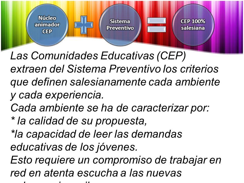 Las Comunidades Educativas (CEP) extraen del Sistema Preventivo los criterios que definen salesianamente cada ambiente y cada experiencia. Cada ambien