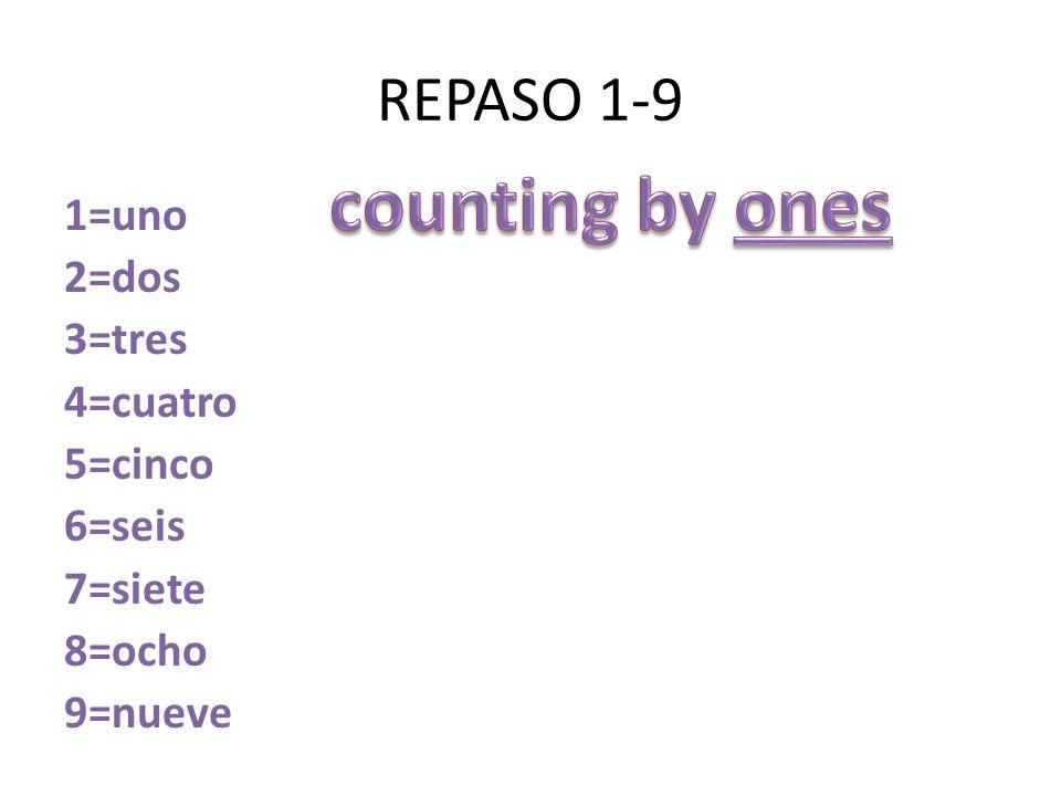 REPASO 1-9 1=uno 2=dos 3=tres 4=cuatro 5=cinco 6=seis 7=siete 8=ocho 9=nueve