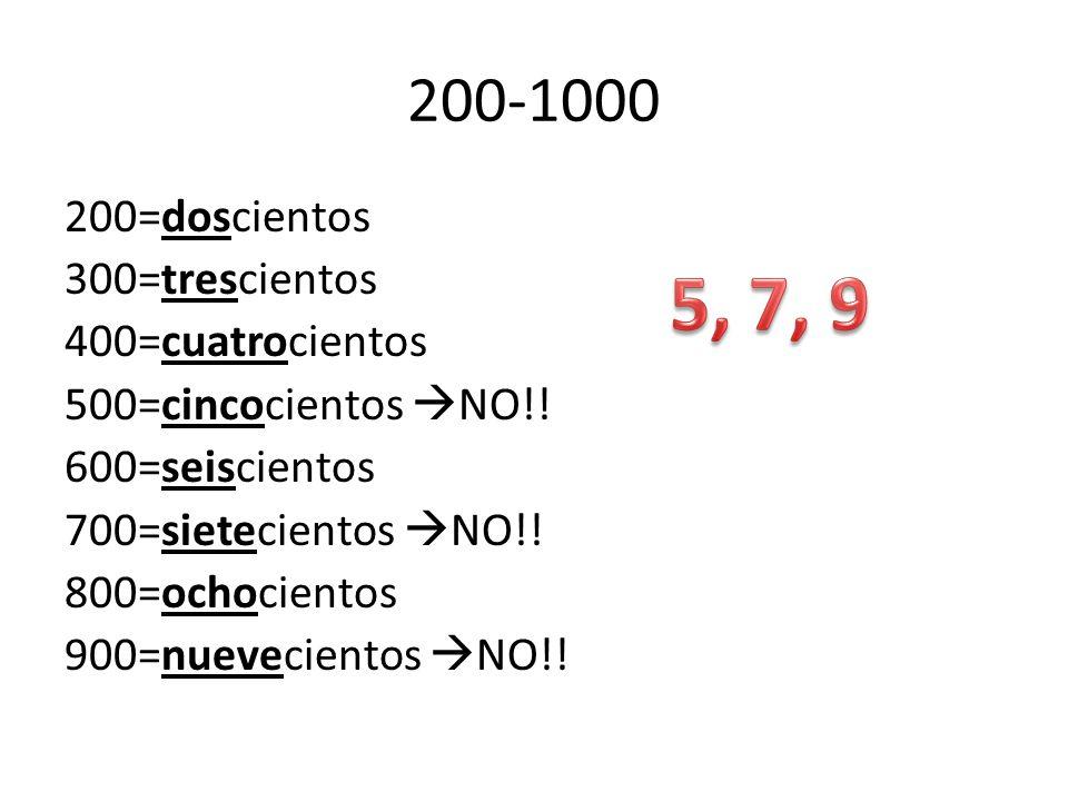 200-1000 200=doscientos 300=trescientos 400=cuatrocientos 500=cincocientos NO!! 600=seiscientos 700=sietecientos NO!! 800=ochocientos 900=nuevecientos