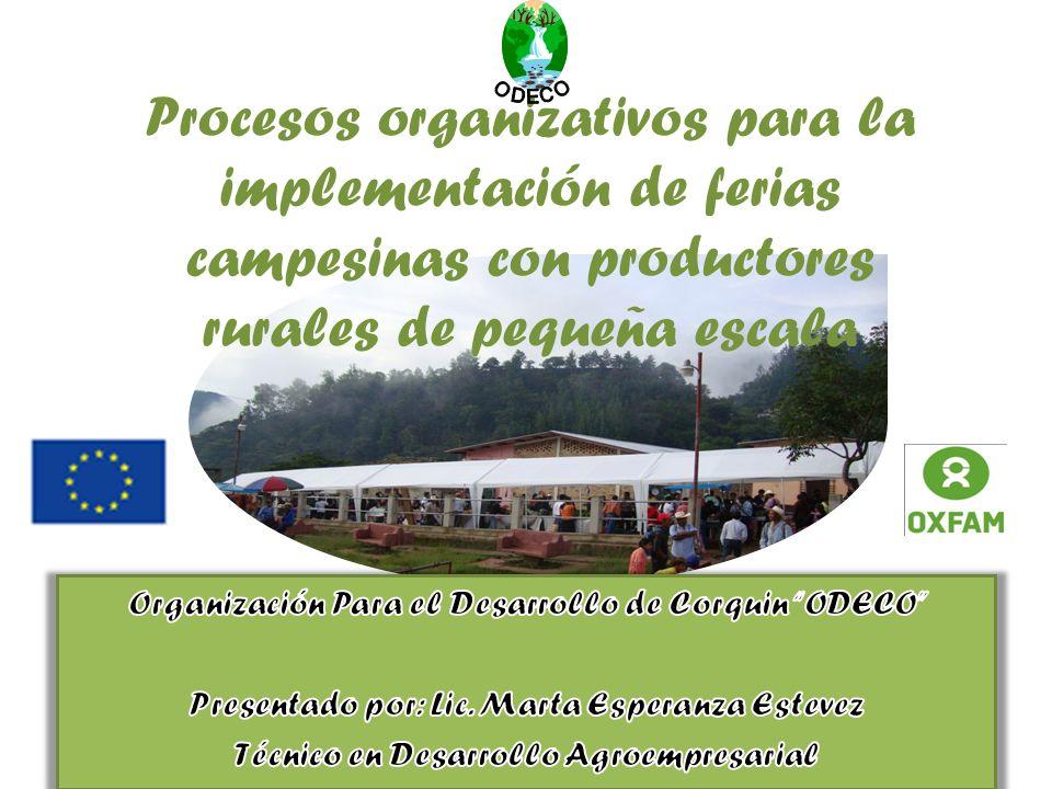 Procesos organizativos para la implementación de ferias campesinas con productores rurales de pequeña escala