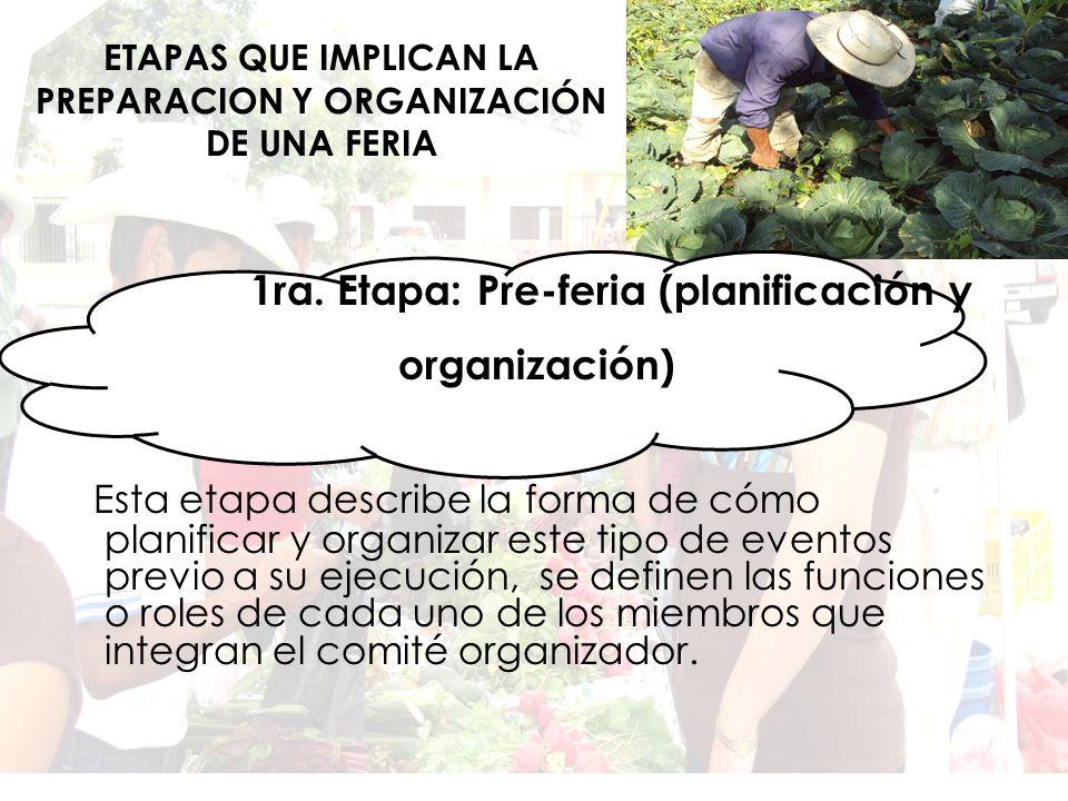 ETAPAS QUE IMPLICAN LA PREPARACION Y ORGANIZACIÓN DE UNA FERIA 1ra.