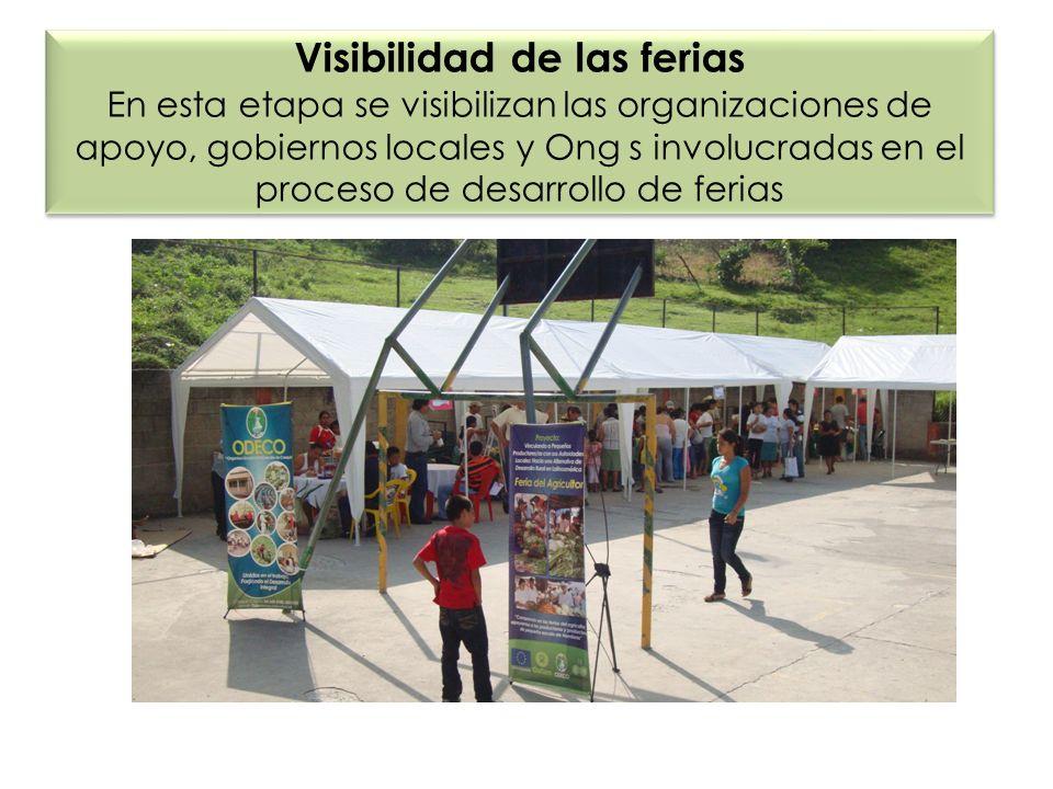 Visibilidad de las ferias En esta etapa se visibilizan las organizaciones de apoyo, gobiernos locales y Ong s involucradas en el proceso de desarrollo de ferias