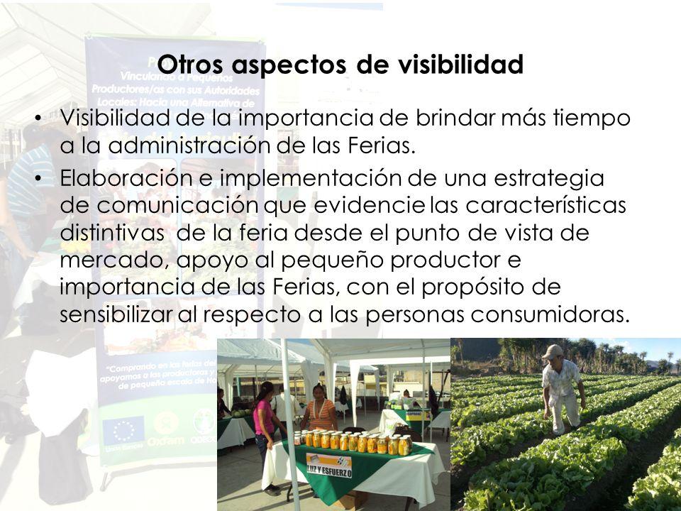 Otros aspectos de visibilidad Visibilidad de la importancia de brindar más tiempo a la administración de las Ferias.