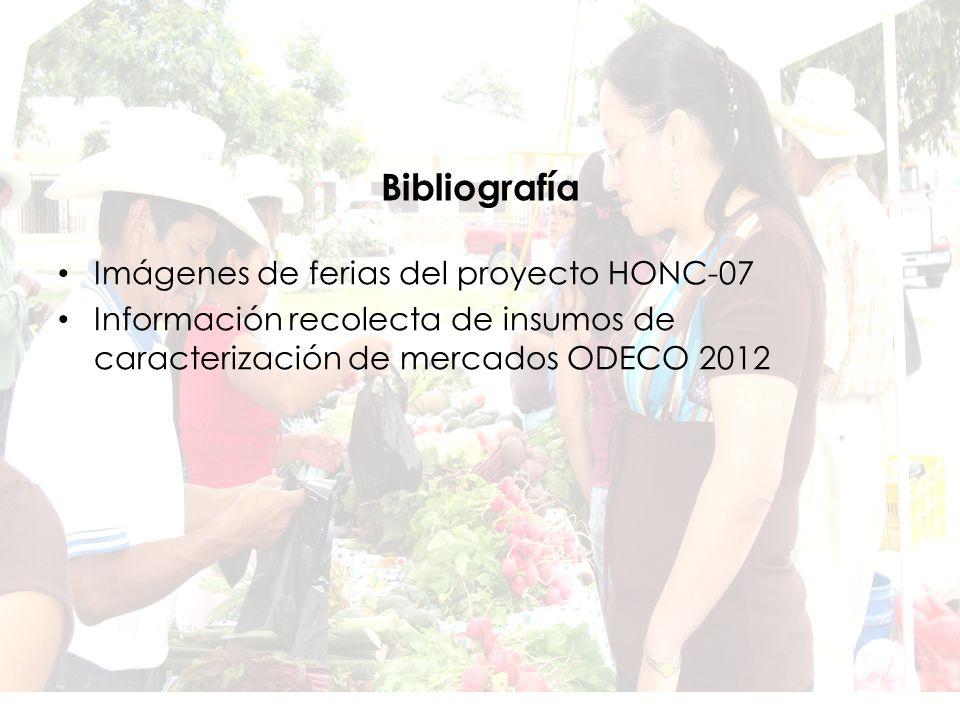 Imágenes de ferias del proyecto HONC-07 Información recolecta de insumos de caracterización de mercados ODECO 2012 Bibliografía