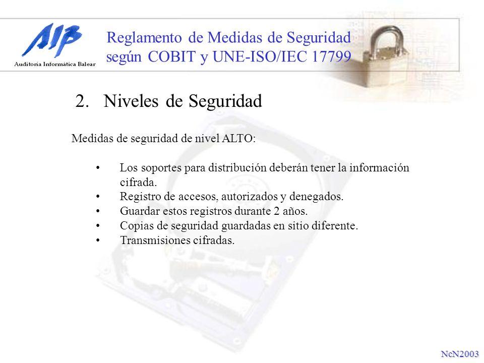 Reglamento de Medidas de Seguridad según COBIT y UNE-ISO/IEC 17799 Medidas de seguridad de nivel ALTO: Los soportes para distribución deberán tener la