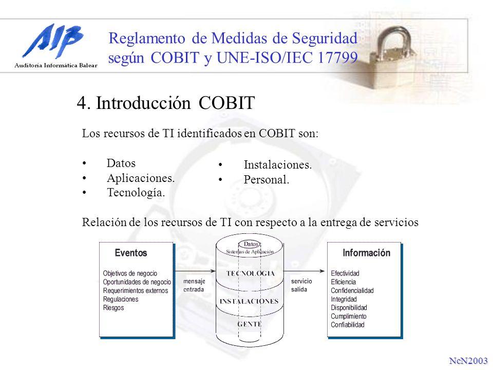 Reglamento de Medidas de Seguridad según COBIT y UNE-ISO/IEC 17799 Los recursos de TI identificados en COBIT son: Datos Aplicaciones. Tecnología. Rela