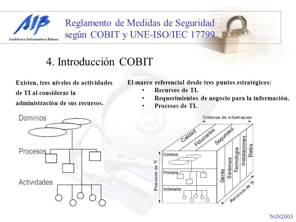Reglamento de Medidas de Seguridad según COBIT y UNE-ISO/IEC 17799 4. Introducción COBIT NcN2003 Existen, tres niveles de actividades de TI al conside