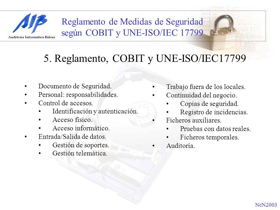 Reglamento de Medidas de Seguridad según COBIT y UNE-ISO/IEC 17799 Documento de Seguridad. Personal: responsabilidades. Control de accesos. Identifica