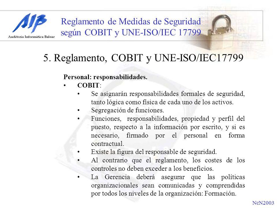 Reglamento de Medidas de Seguridad según COBIT y UNE-ISO/IEC 17799 Personal: responsabilidades. COBIT: Se asignarán responsabilidades formales de segu