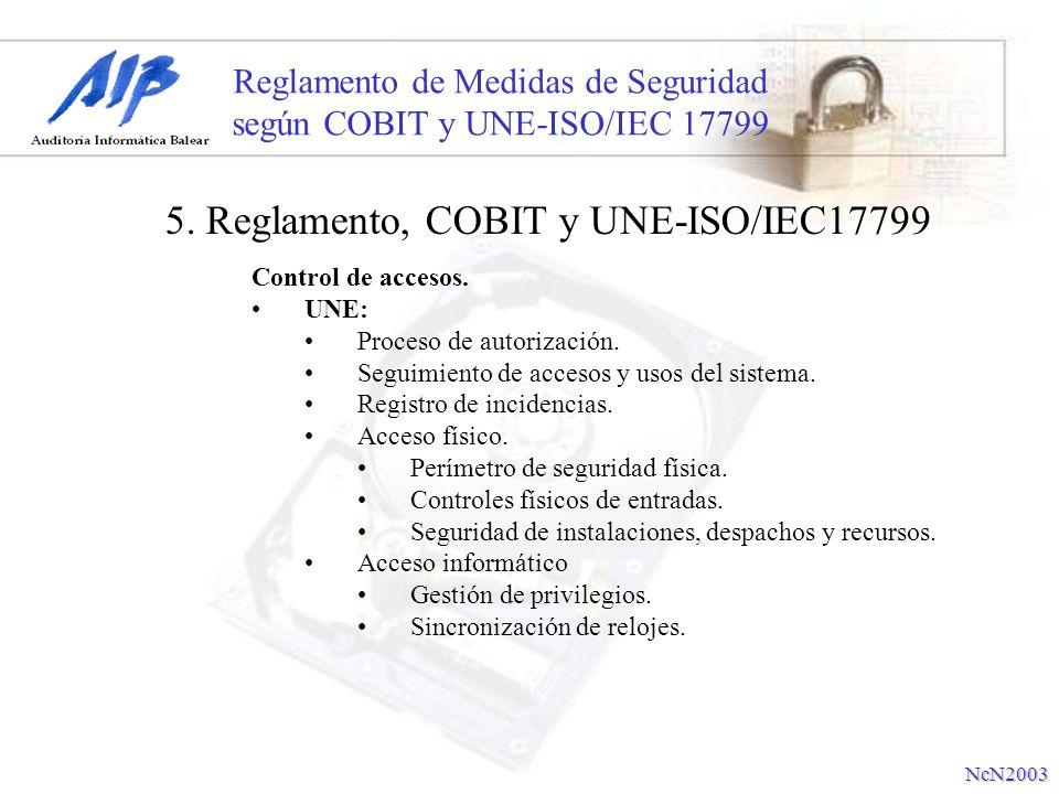 Reglamento de Medidas de Seguridad según COBIT y UNE-ISO/IEC 17799 Control de accesos. UNE: Proceso de autorización. Seguimiento de accesos y usos del
