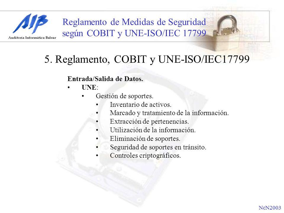 Reglamento de Medidas de Seguridad según COBIT y UNE-ISO/IEC 17799 Entrada/Salida de Datos. UNE: Gestión de soportes. Inventario de activos. Marcado y