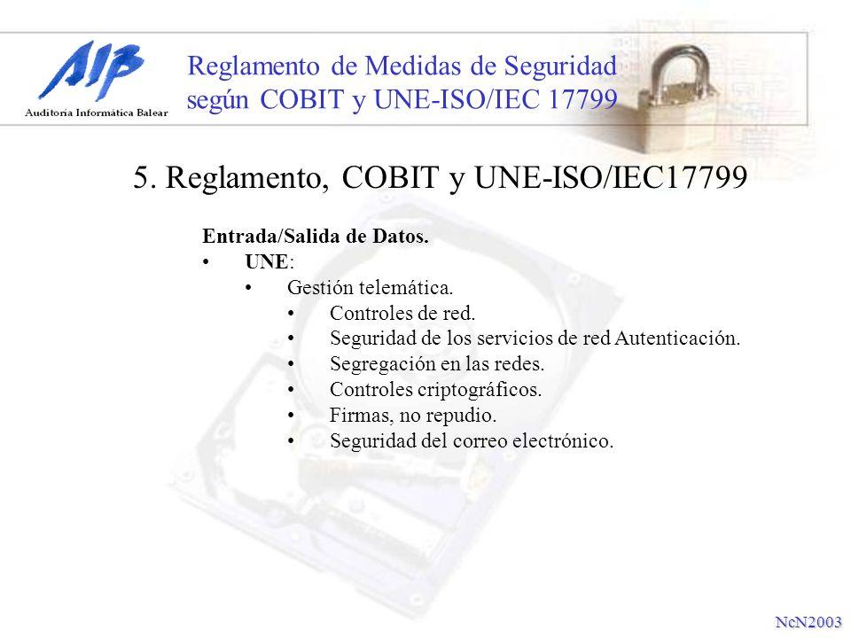 Reglamento de Medidas de Seguridad según COBIT y UNE-ISO/IEC 17799 Entrada/Salida de Datos. UNE: Gestión telemática. Controles de red. Seguridad de lo