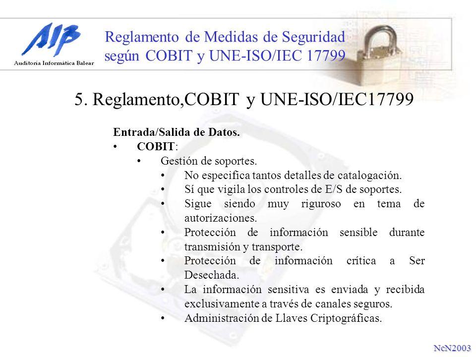 Reglamento de Medidas de Seguridad según COBIT y UNE-ISO/IEC 17799 Entrada/Salida de Datos. COBIT: Gestión de soportes. No especifica tantos detalles