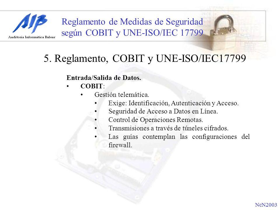 Reglamento de Medidas de Seguridad según COBIT y UNE-ISO/IEC 17799 Entrada/Salida de Datos. COBIT: Gestión telemática. Exige: Identificación, Autentic