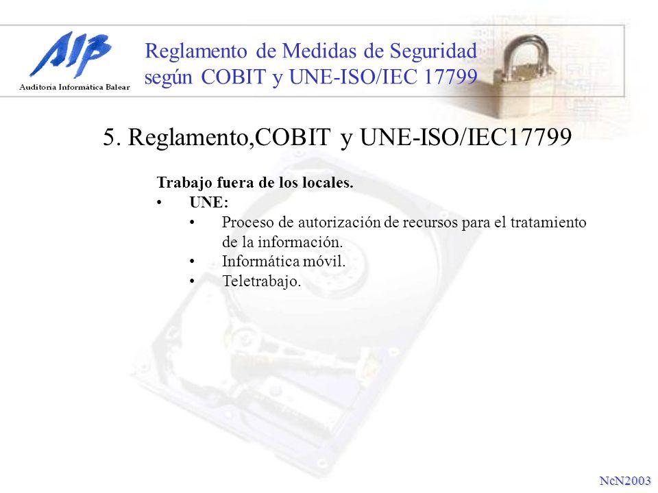 Reglamento de Medidas de Seguridad según COBIT y UNE-ISO/IEC 17799 Trabajo fuera de los locales. UNE: Proceso de autorización de recursos para el trat