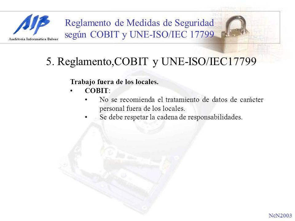 Reglamento de Medidas de Seguridad según COBIT y UNE-ISO/IEC 17799 Trabajo fuera de los locales. COBIT: No se recomienda el tratamiento de datos de ca