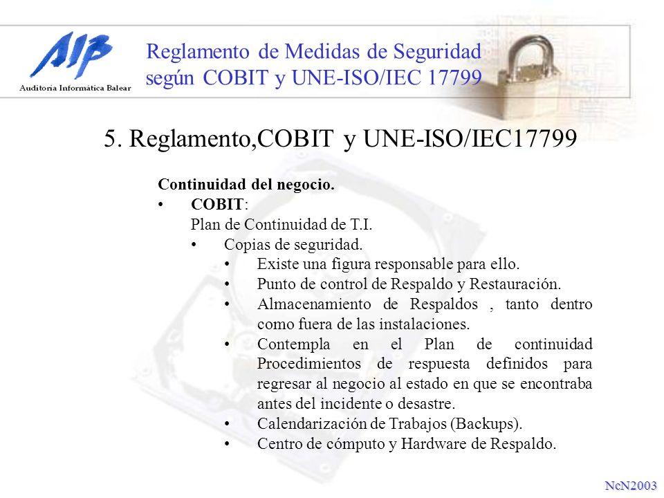 Reglamento de Medidas de Seguridad según COBIT y UNE-ISO/IEC 17799 Continuidad del negocio. COBIT: Plan de Continuidad de T.I. Copias de seguridad. Ex