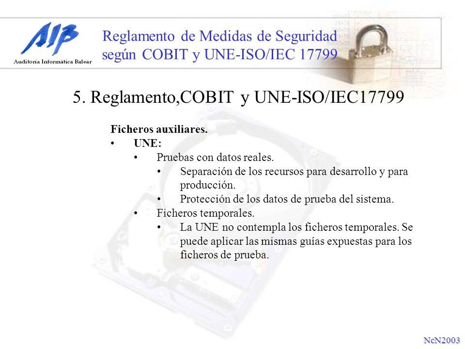 Reglamento de Medidas de Seguridad según COBIT y UNE-ISO/IEC 17799 Ficheros auxiliares. UNE: Pruebas con datos reales. Separación de los recursos para
