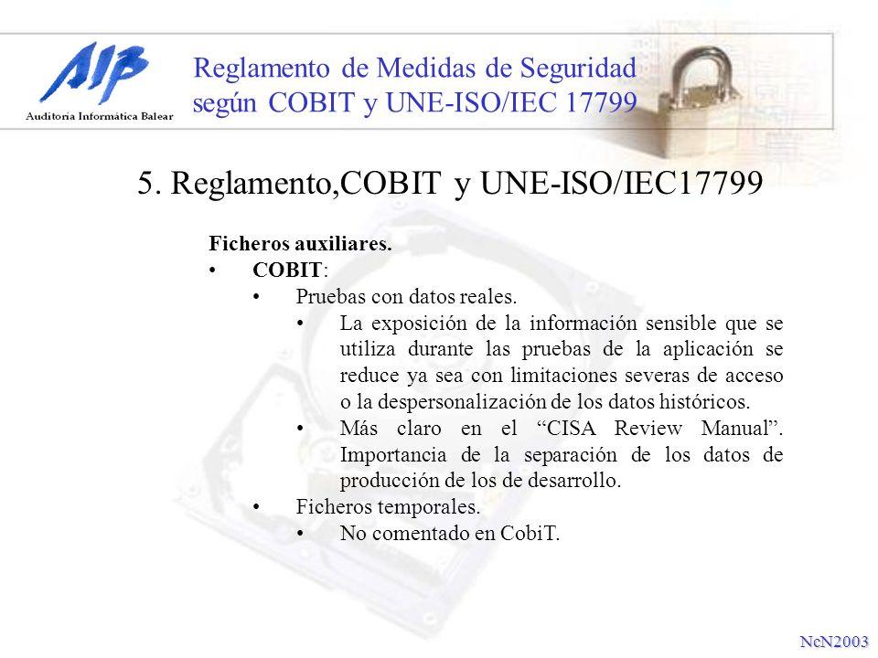 Reglamento de Medidas de Seguridad según COBIT y UNE-ISO/IEC 17799 Ficheros auxiliares. COBIT: Pruebas con datos reales. La exposición de la informaci
