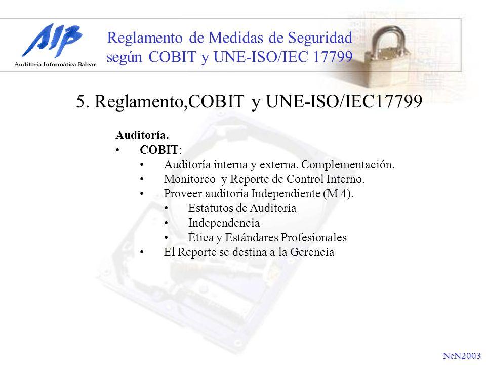 Reglamento de Medidas de Seguridad según COBIT y UNE-ISO/IEC 17799 Auditoría. COBIT: Auditoría interna y externa. Complementación. Monitoreo y Reporte
