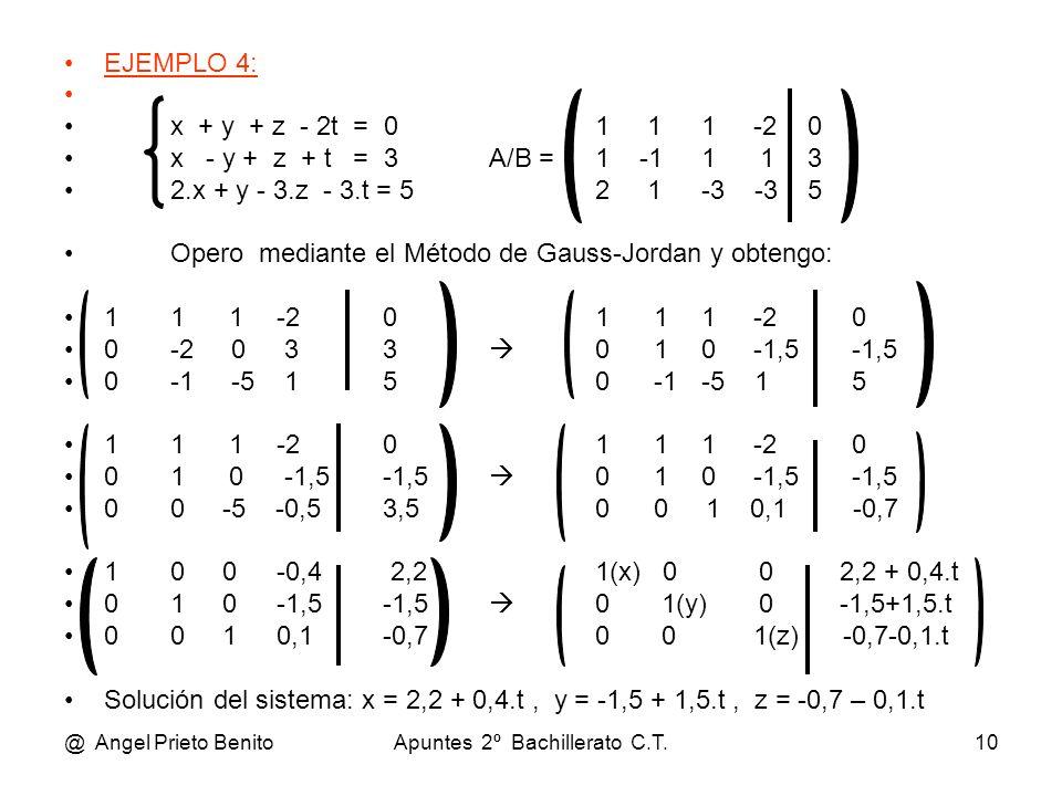 @ Angel Prieto BenitoApuntes 2º Bachillerato C.T.10 EJEMPLO 4: x + y + z - 2t = 01 11 -20 x - y + z + t = 3A/B =1 -11 13 2.x + y - 3.z - 3.t = 52 1-3