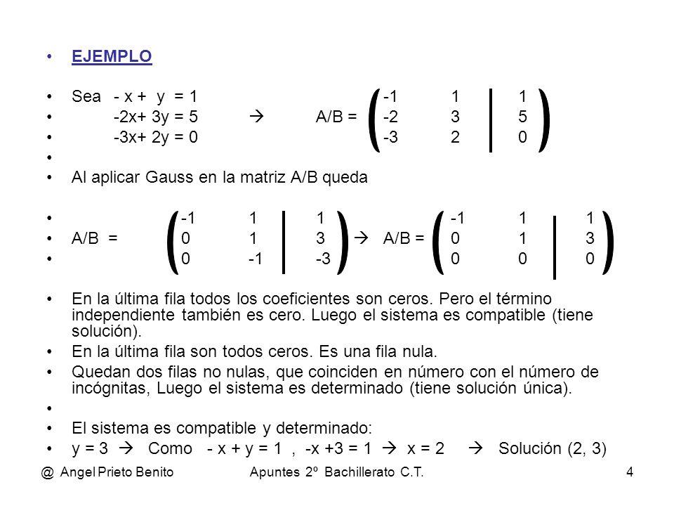 @ Angel Prieto BenitoApuntes 2º Bachillerato C.T.4 EJEMPLO Sea- x + y = 1-111 -2x+ 3y = 5 A/B =-235 -3x+ 2y = 0-320 Al aplicar Gauss en la matriz A/B
