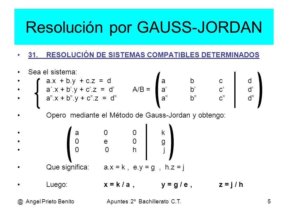 @ Angel Prieto BenitoApuntes 2º Bachillerato C.T.5 Resolución por GAUSS-JORDAN 31.RESOLUCIÓN DE SISTEMAS COMPATIBLES DETERMINADOS Sea el sistema: a.x