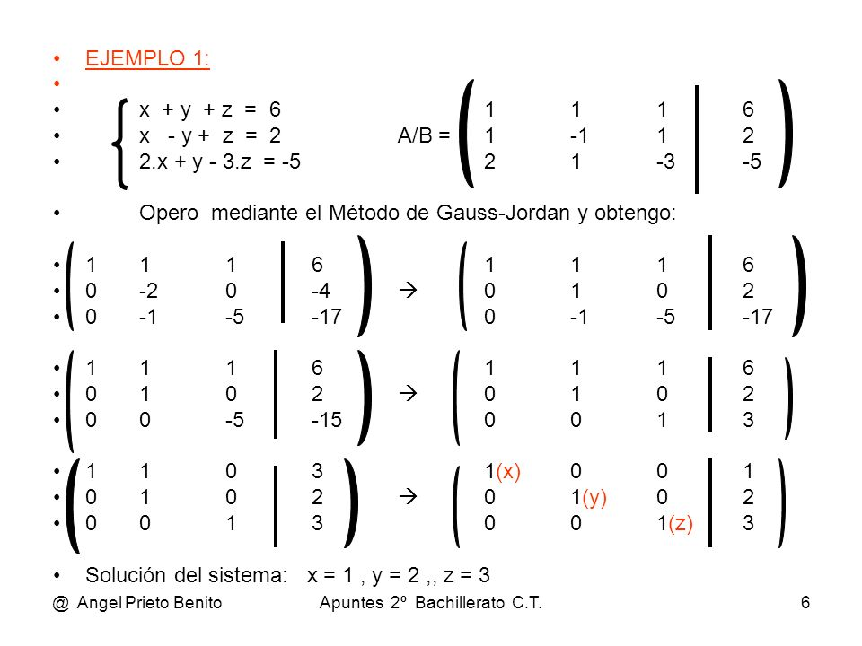 @ Angel Prieto BenitoApuntes 2º Bachillerato C.T.6 EJEMPLO 1: x + y + z = 61116 x - y + z = 2A/B =1-112 2.x + y - 3.z = -521-3-5 Opero mediante el Mét